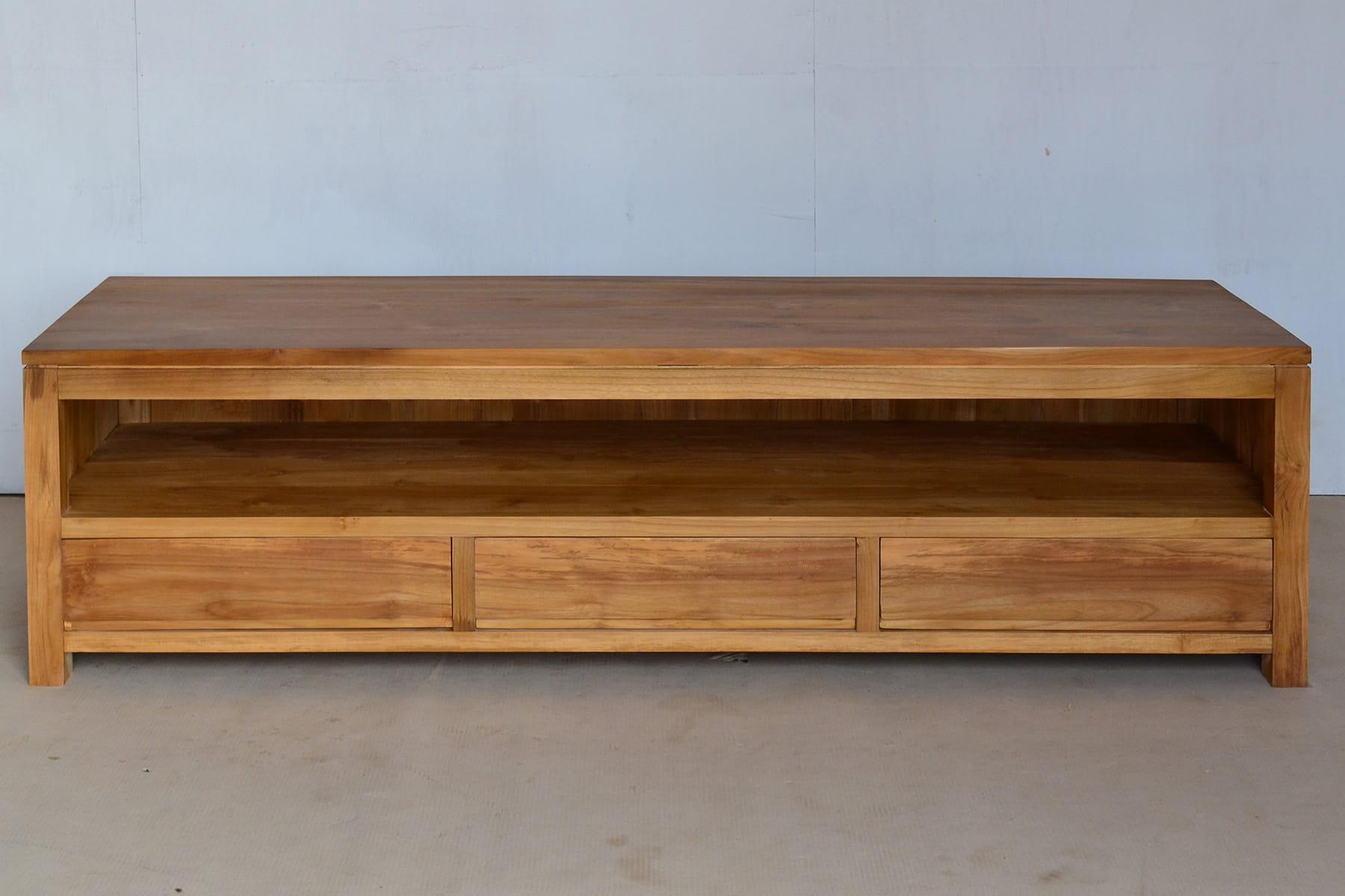Meja Tv minimalis finishing natural kayu jati